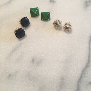 3 pairs of Kate Spade earrings